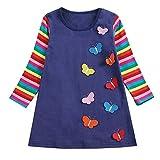 TIFIY Kleid Valentinstag Kleinkind mädchen Regenbogen Streifen Schmetterling Kinder Party Kleid Babykleidung(Dunkelblau,2-3Jahre / 3)