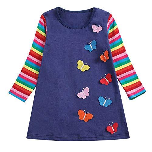 Kleinkind Mädchen Kleidung -Langarm Pullover Regenbogen-Streifen-Schmetterlings-Partei- Princess Kleiderkleidung Anzug Mini Kleid\n ()