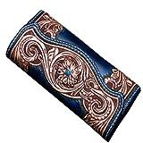 Billetera tallada a mano piel larga primera capa de cuero italiana bolso de gran capacidad billetera piel (Azul)