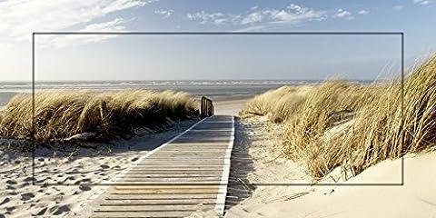 Artland Modell-Rahmen Wand-Bild gerahmt mit Motiv Eva Gruendemann Nordseestrand auf Langeoog - Steg Landschaften Strand Fotografie Creme 51,4 x 101,4 x 1,6 cm