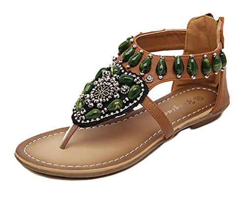 Qitun Femmes Eté Bohême Sandale Tongs Flip Plat Flops Sandales avec Perles Chaussons Flats de Plage