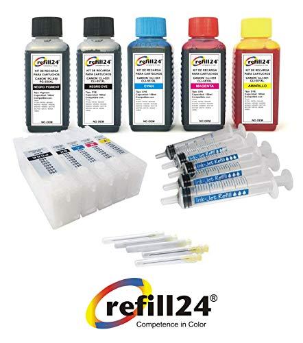 Kit de Recarga para Cartuchos de Tinta Canon PGI-550, PGI-550 XL, CLI-551, CLI-551 XL Negro y Color + Cartuchos Recargables y Accesorios + 500 ML Tinta