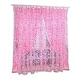 Tongshi Imprimir Floral gasa cortina de puerta ventana Habitación Cortina Divisor Bufanda (Rosa)