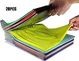 Nifogo Closet Kleiderschrank Organizer, Schubladen Organizer Schnelle Wäsche Organizer Transparent Board Regal T-Shirt Faltbrett,Normale Größe, 20 Stück