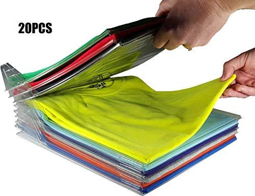 Nifogo t Shirt Organizer Closet Kleiderschrank Organizer, Schubladen Organizer Schnelle Wäsche Organizer Transparent Board Regal T-Shirt Faltbrett,Normale Größe20 Stück