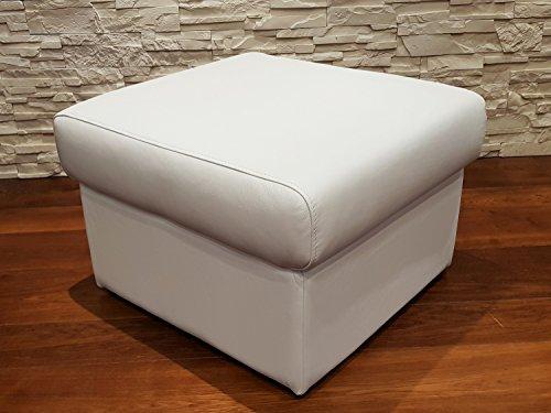 Weiß Echtleder Hocker aufklappbar mit Stauraum Sitzhocker Rindsleder Sitzwürfel 60x55 Fußhocker Polsterhocker Echt Leder Puff Leder-puff