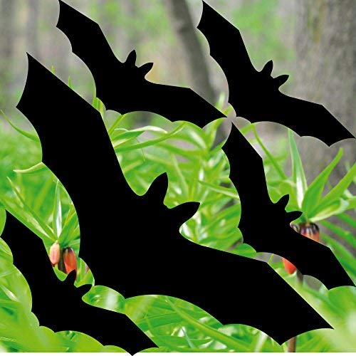 GreenIT Set schwarz Fledermaus Vögel Aufkleber Tattoo gegen Vogelschlag Warnvögel Fenster Schutz Deko Folie