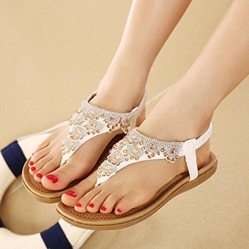 Familizo Donne Bohe Rhinestone adatta a grandi dimensioni scarpe da spiaggia sandali casuali bianca