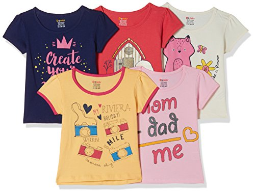 Donuts by Unlimited Baby Girls' Plain Regular Fit T-Shirt (Pack of 5)(273735184_Assorted_06M)