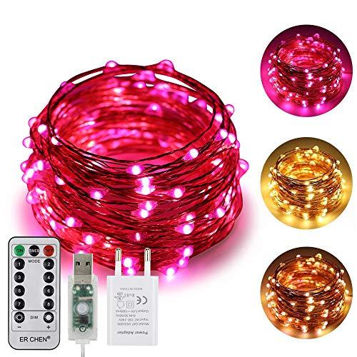 ErChen USB Strom-betrieben Zweifarbige Led Lichterketten, 33 FT 100 Leds Farbe ändern Dimmbar 8 Modi Kupfer Draht-Lichterketten mit Fernbedienung Timer für Innen Außen Christmas (Warmweiß, Rosa)