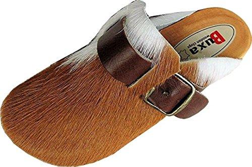 Schweden HOLZ CLOGS - Pantolette Gr.34 BRAUN, Echt Leder- Kuhfell (Made in Poland 2.12.13.58)