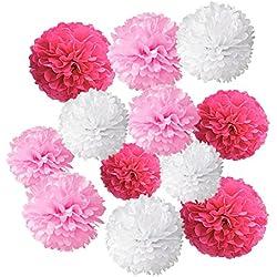Wartoon Papel Pom Poms Flores Tissue para Decoración de Boda, Fiesta Cumpleaños, Bienvenida al Bebé, 12 Piezas ( Rosa Oscuro, Rosa y Blanco )