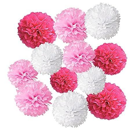 Wartoon Pompon Papier de Soie Boules de Fleur pour Fête Anniversaire, Partie, Mariage, Baby shower, Parti Décoration, 12 Pièces, ( Blanc Rose Foncé Rose )