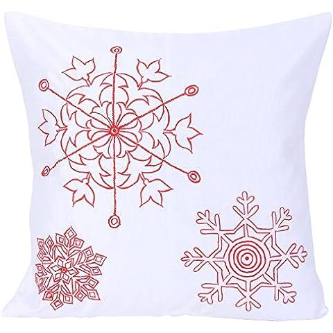 Fodera per cuscino bianco Natale rosso con fiocchi di neve caduta ricamato con filo rosso (Snowflake Accenti)