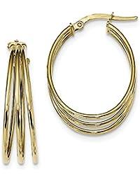 ICE CARATS 14k Yellow Gold Triple Oval Hoop Earrings Ear Hoops Set Fine Jewelry Gift Set For Women Heart