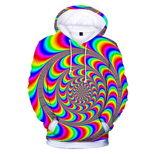 Realde Herren 3D Druck Kapuzenpullover Sweatshirt Langarm Top Winter Slim Fit Hoodie Große Taschen und Kapuzen Pullover Männer T-Shirt Kapuzenshirt für Fitness -