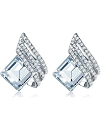 Jewels Galaxy Exclusive Swarovski Collection Copper Drop Earring for Women (White)(ERG-2236)