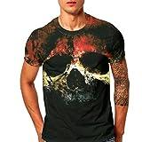 Challeng Herren T-Shirt Slim-Fit, Herren Drucken T-Stücke Hemd Tintenfisch Kurz Ärmel T-Shirt Bluse Oberteile (L, Schwarz)
