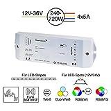 iluminize LED-Controller Funk/WiFi: flimmerfrei durch 750Hz, hochwertiger und langlebiger LED-Controller, 4x 5A, für weiße / duo-weiße (CCT) / RGB / RGB+W / RGBW LEDs, 12V-36V Konstantspannung, zum Dimmen und Steuern von LED-Streifen und LED-Lampen mit Konstantspannung (Funk/WiFi 4x 5A)
