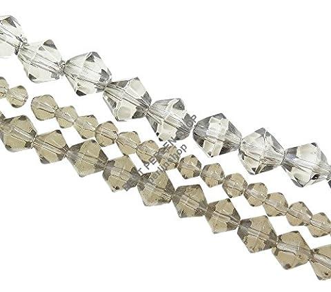 150 GLASPERLEN DOPPELKEGEL PERLEN RHOMBEN GRAU 4 6 8 mm BICONE DIY Basteln Set 3 Stränge D321