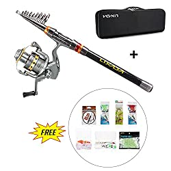 Lixada Fishing Rod & Reel Combo Kit Telescopic Spinning Fishing Reel Gear Organizer Pole Set With 100m Fishing Line & Fishing Carrier Bag Case Fishing Accessories