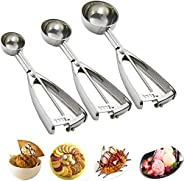 Cookie Scoop Set, 3 PCS Ice Cream Scoop with Trigger, 18/8 Stainless Steel, Perfect for Cookie, Ice Cream, Cup