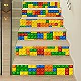 RLF LF Autoadesiva 3D Adesivi Per Scale Bambini Lego Rinnovamento Arte Murale Applique La Scala Della Stanza Ha Decorato L'adesivo Del Pavimento Del Soffitto Di RLF.LF,Yellow,100Cm*18Cm