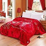 Ericcay Rote Decke Blumenmuster Schlafzimmer Bett Casual Chic Bedeckt Mit Decke Vier Jahreszeiten Freizeit Decke Weich Und Komfortabel Doppelte Isolierung Wolldecke (Größe 175 * 215Cm)