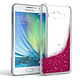 EAZY CASE GmbH Hülle für Samsung Galaxy A3 (2015) Schutzhülle mit Flüssig-Glitzer, Handyhülle, Schutzhülle, Back Cover mit Glitter Flüssigkeit, aus TPU/Silikon, Transparent/Durchsichtig, Pink