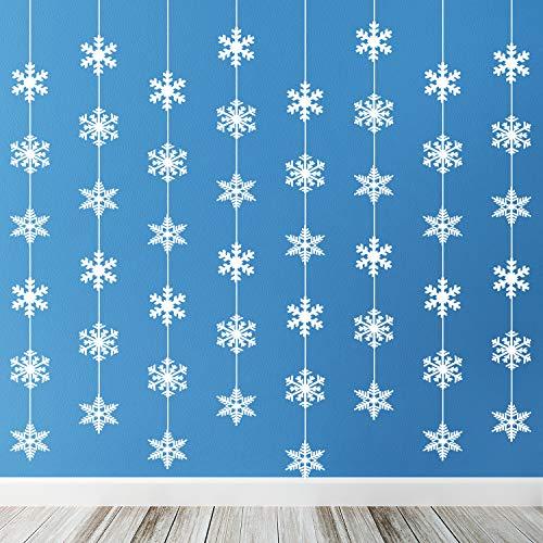 TUPARKA 8 x 1,8 Meter Schneeflocke Girlande Winter Schneeflocken Deko Weihnachten Deko Weihnachtsgirlande für Winterdeko Winter Weihnacht Deko