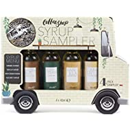 Food Truck Coffee Shop Syrup Gift Set of 4 Delicious Coffee Syrup Samplers Including Caramel, Vanilla, Irish Cream, and Hazelnut