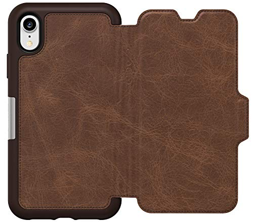 OtterBox Strada Series Folio Leather Wallet Case for iPhone Xr - Non-Retail Packaging - Espresso Folio Wallet Leather Case