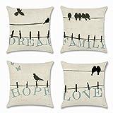 Artscope Lot de 4 Housse de Coussin 45 x 45 cm Coton et Lin Décoratif Taie d'oreiller de Voiture Canapé Maison Décor Housses de Coussin (Dream Oiseau)...