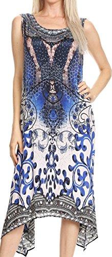 Sakkas P12 - Seneca Lange Scoop Neck Printed Leichte Strand verziertes Kleid Coverup - 17006-Navy / Weiß - OS (Gedruckt Hals Juwel)