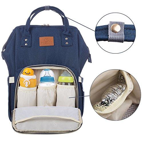 Mochila de Pañales y biberones para mamá, Impermeable Bolsos Cambiadores Cambio de Pañales para Cuidado de Bebé,Azul Oscuro