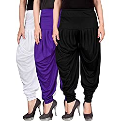 Culture the Dignity Womens Lycra Dhoti Patiala Salwar Harem Pants CTD_00WVB_2-WHITE-VIOLET-BLACK-FREESIZE - Combo Pack of 3