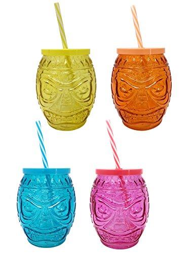 Para-beber-Juego-de-4-Tiki-con-Pajas-y-tapas