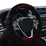 #3: NIKAVI Fur Car Steering Wheel Cover (MEROON)