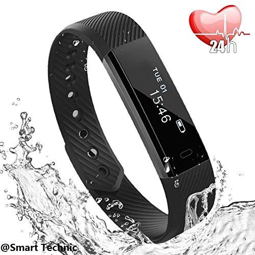 Fitness tracker, bracciale fitness, braccialetto, smart watch ip67 impermeabile smartwatch compatibile ios android, pedometro contapassi da polso conta calorie e cardiofrequenzimetro(nero)
