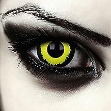 """Mini sclera lentillas de colores negro y amarillas para Halloween costume 17mm lentes sin dioprtías / corregir + gratis caso de lente """"Black Hole"""""""
