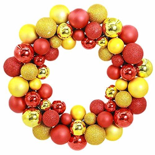 CICIYONER 55 Stücke Weihnachtskugeln Kranz Tür Wand Ornament Girlande Dekoration (1 set, Gold)