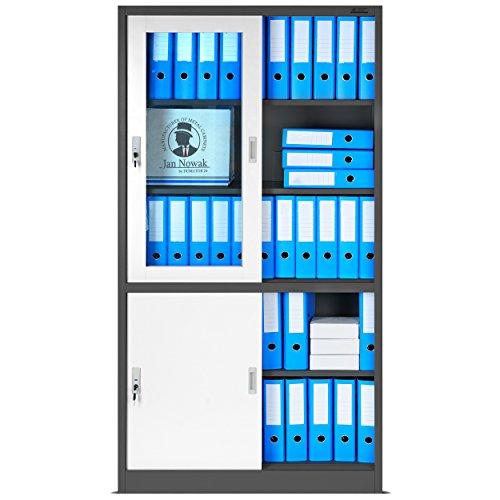 Büroschrank mit Schiebetüren SD005, Aktenschrank, Flügeltüren aus Glas, abschließbar, Farbwahl, 185 cm x 90 cm x 40 cm (H x B x T) (anthrazit/weiß)