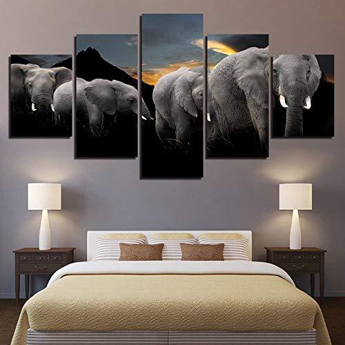 r Wohnzimmer Oder Schlafzimmer Bild HD Drucken 5 Stücke Tiere Elefanten Familie Landschaft Poster Modulare Leinwand ()