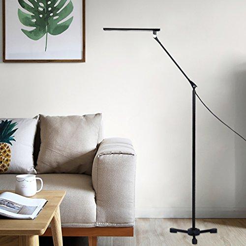 Preisvergleich Produktbild Tonffi Faltbare LED Stehleuchte Aluminiumlegierung Standlampe mit 8W 42LM 5000K weiß Touch-dimmbare Schalter fünf Helligkeit für Ihr Wohnzimmer und Lesenzimmer usw. Schwarz Dreieck-Lampenfuß