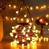 AOOKEY Lichterkette 10 Meter 80 LED Globe Lichterkette Warmweiß für Weihnachten, Hochzeit, Party, Zuhause sowie Garten, Balkon, Terrasse, Fenster, Treppe, Bar, etc(Battery)