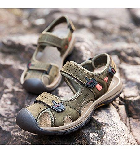 Gaorui Herren Sport Outdoor Sandale Trekkingsandale & Wanderschuhe aus Syntheseleder 3 Farben Armeegrün