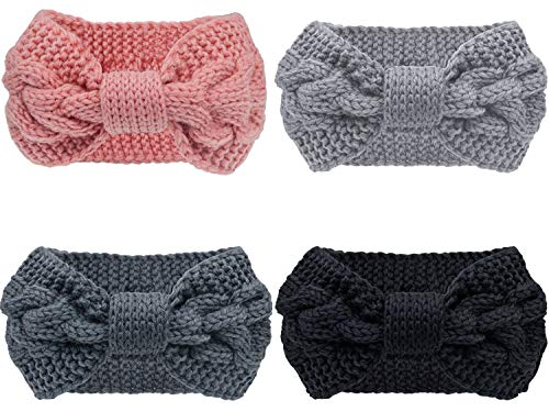 Pacrate Stirnband Damen Winter Warmes Knoten Gestrickte Stirnbänder Elastisches Frauen Haarband Mädchen Haarbänder Gestrickt mit Ohrenschutz