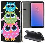 Samsung Galaxy S5 / S5 Neo Hülle Premium Smart Einseitig Flipcover Hülle Samsung S5 Neo Flip Case Handyhülle Samsung S5 Motiv (286 Eulen Blau Grün Pink)