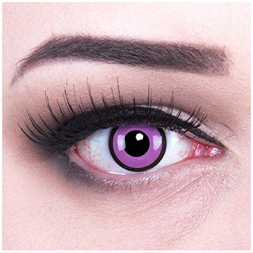 Lenti a contatto colorate purple violet black purple + 4capsule di sangue finto + contenitore di funnylens, morbide, non corrette, in confezione da due: perfetto per halloween, carnevale, o carnevale