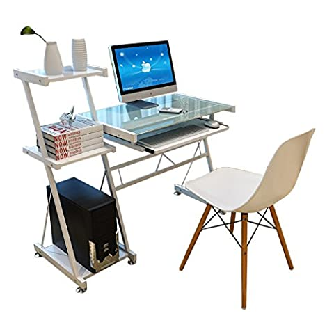 Soges Premium Modern Design Computer Desk Glass Desk Workstation with Glass Top Office Desk with Bookcase & Pullout Keyboard Tray, White